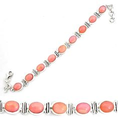 39.27cts natural pink opal 925 sterling silver tennis bracelet jewelry p70692
