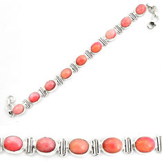 38.49cts natural pink opal 925 sterling silver tennis bracelet jewelry p70694