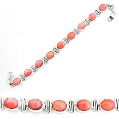 40.81cts natural pink opal 925 sterling silver tennis bracelet jewelry p70695
