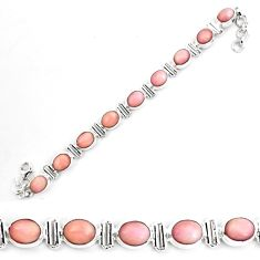 38.49cts natural pink opal 925 sterling silver tennis bracelet jewelry p70696