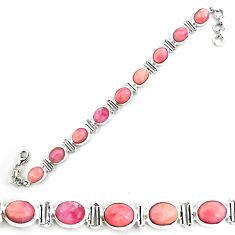 37.41cts natural pink opal 925 sterling silver tennis bracelet jewelry p70697