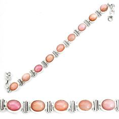 38.49cts natural pink opal 925 sterling silver tennis bracelet jewelry p70699