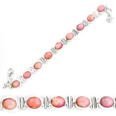 39.65cts natural pink opal 925 sterling silver tennis bracelet jewelry p70700