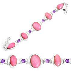 63.15cts natural pink petalite amethyst 925 silver tennis bracelet p69712