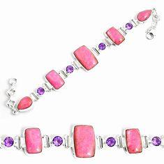 56.20cts natural pink petalite amethyst 925 silver tennis bracelet p69714