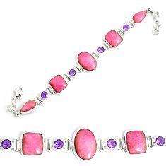 58.15cts natural pink petalite amethyst 925 silver tennis bracelet p69715