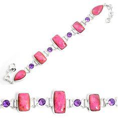 53.95cts natural pink petalite amethyst 925 silver tennis bracelet p69716