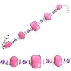 63.10cts natural pink petalite amethyst 925 silver tennis bracelet p69718