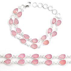 33.24cts natural pink rose quartz 925 sterling silver bracelet jewelry p44525