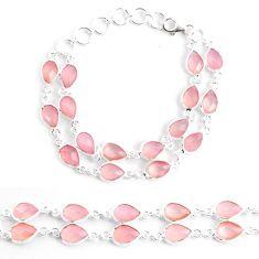 33.29cts natural pink rose quartz 925 sterling silver tennis bracelet p40531