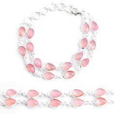 32.73cts natural pink rose quartz 925 sterling silver tennis bracelet p40532