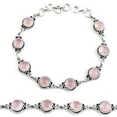 19.97cts natural pink rose quartz 925 sterling silver tennis bracelet p65170