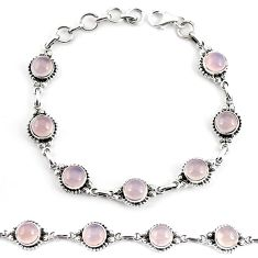 19.62cts natural pink rose quartz 925 sterling silver tennis bracelet p65172
