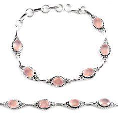 9.79cts natural pink rose quartz 925 sterling silver tennis bracelet p65175