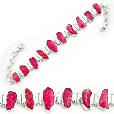 53.86cts natural pink ruby rough 925 sterling silver tennis bracelet p69047