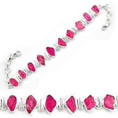41.06cts natural pink ruby rough 925 sterling silver tennis bracelet p69054