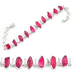 41.06cts natural pink ruby rough 925 sterling silver tennis bracelet p69057