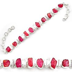 41.53cts natural pink ruby rough 925 sterling silver tennis bracelet p69058