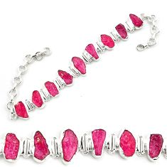 41.53cts natural pink ruby rough 925 sterling silver tennis bracelet p69060