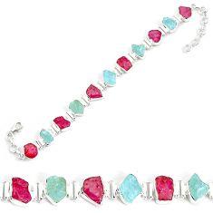 Natural pink ruby rough aquamarine rough 925 silver tennis bracelet p35650