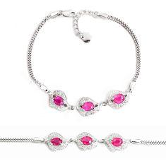 7.40cts natural pink ruby topaz 925 sterling silver tennis bracelet c2497