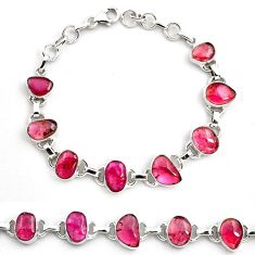 34.55cts natural pink tourmaline 925 sterling silver tennis bracelet p81481