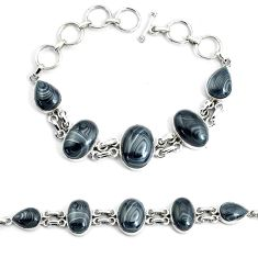 45.06cts natural psilomelane (crown of silver) 925 silver tennis bracelet p46002