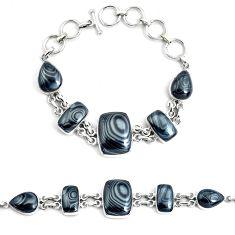 50.35cts natural psilomelane (crown of silver) 925 silver tennis bracelet p46006