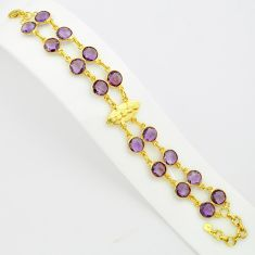 37.74cts natural purple amethyst 925 silver 14k gold tennis bracelet p75081