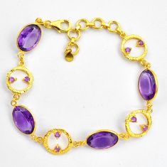 27.23cts natural purple amethyst 925 silver 14k gold tennis bracelet p87503