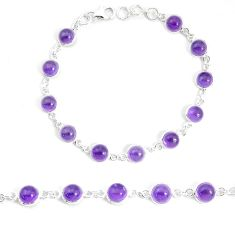24.89cts natural purple amethyst 925 sterling silver tennis bracelet p34705