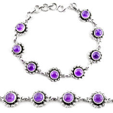 11.93cts natural purple amethyst 925 sterling silver tennis bracelet p65161