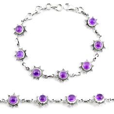 10.52cts natural purple amethyst 925 sterling silver tennis bracelet p65166