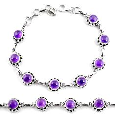 11.93cts natural purple amethyst 925 sterling silver tennis bracelet p65167