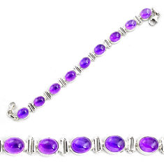 36.59cts natural purple amethyst 925 sterling silver tennis bracelet p87841
