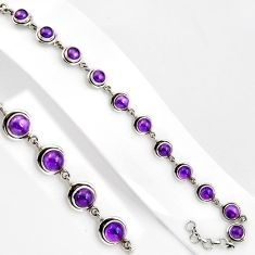 15.64cts natural purple amethyst 925 sterling silver tennis bracelet p89113
