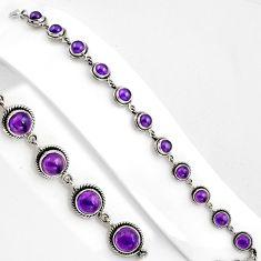 15.64cts natural purple amethyst 925 sterling silver tennis bracelet p89115