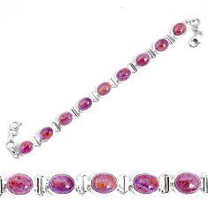 37.47cts natural purple cacoxenite super seven 925 silver tennis bracelet p34502