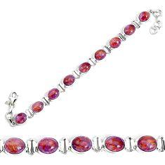 37.16cts natural purple cacoxenite super seven 925 silver tennis bracelet p34505