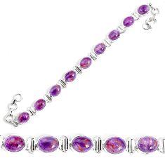 37.97cts natural purple cacoxenite super seven 925 silver tennis bracelet p34506