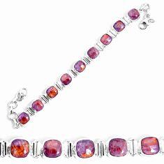28.30cts natural purple cacoxenite super seven 925 silver tennis bracelet p34509