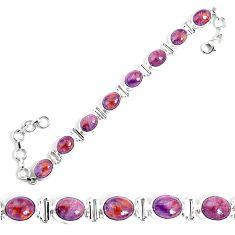 34.96cts natural purple cacoxenite super seven 925 silver tennis bracelet p34510