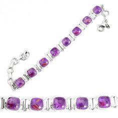 24.77cts natural purple cacoxenite super seven 925 silver tennis bracelet p34511