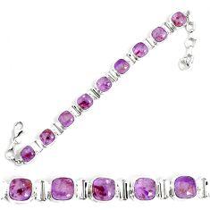 27.97cts natural purple cacoxenite super seven 925 silver tennis bracelet p34513