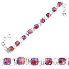 28.30cts natural purple cacoxenite super seven 925 silver tennis bracelet p34514