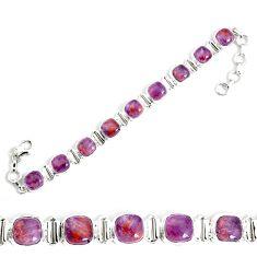 26.37cts natural purple cacoxenite super seven 925 silver tennis bracelet p34516