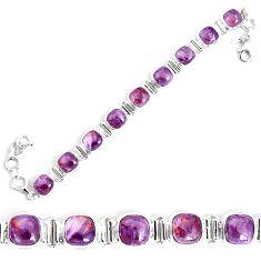27.62cts natural purple cacoxenite super seven 925 silver tennis bracelet p34519