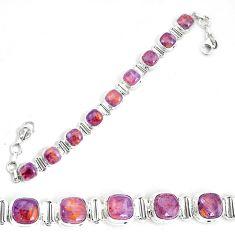 27.25cts natural purple cacoxenite super seven 925 silver tennis bracelet p34535