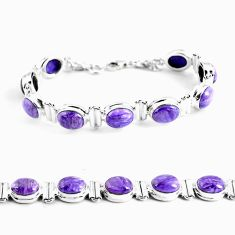 37.18cts natural purple charoite (siberian) 925 silver tennis bracelet p64442