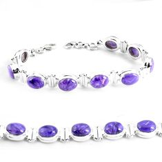 35.75cts natural purple charoite (siberian) 925 silver tennis bracelet p64445